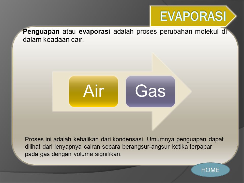 EVAPORASI Penguapan atau evaporasi adalah proses perubahan molekul di dalam keadaan cair. Air. Gas.