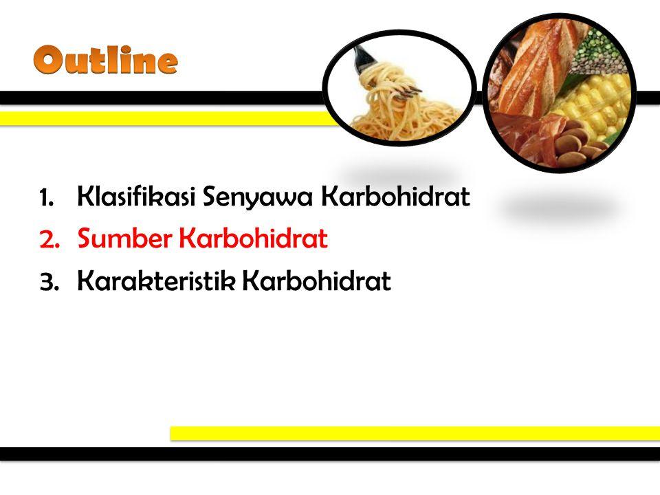 Outline Klasifikasi Senyawa Karbohidrat Sumber Karbohidrat