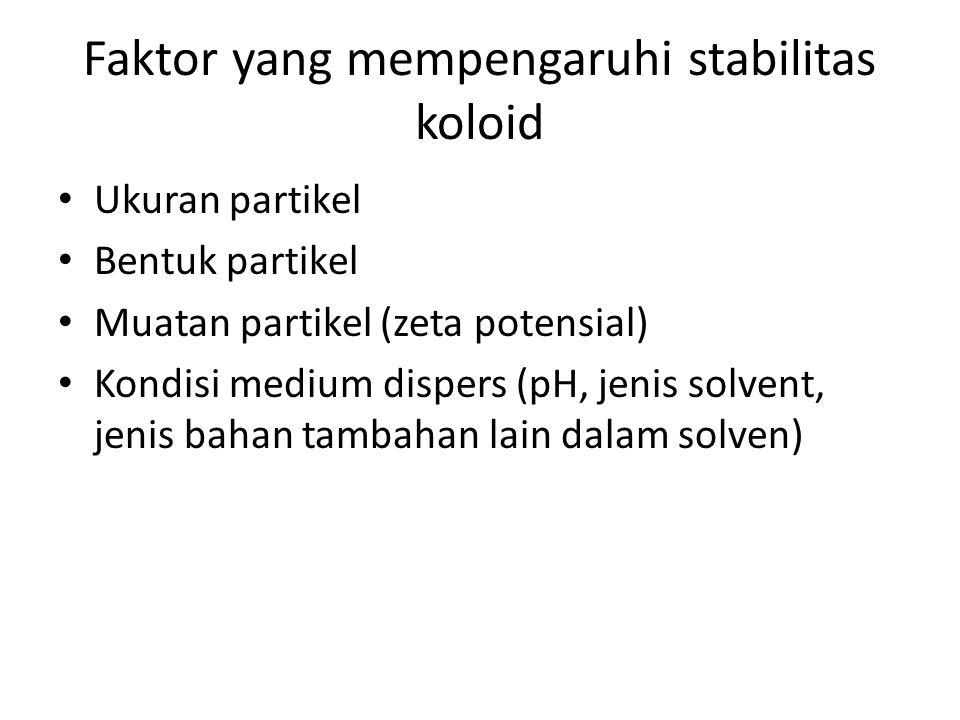 Faktor yang mempengaruhi stabilitas koloid