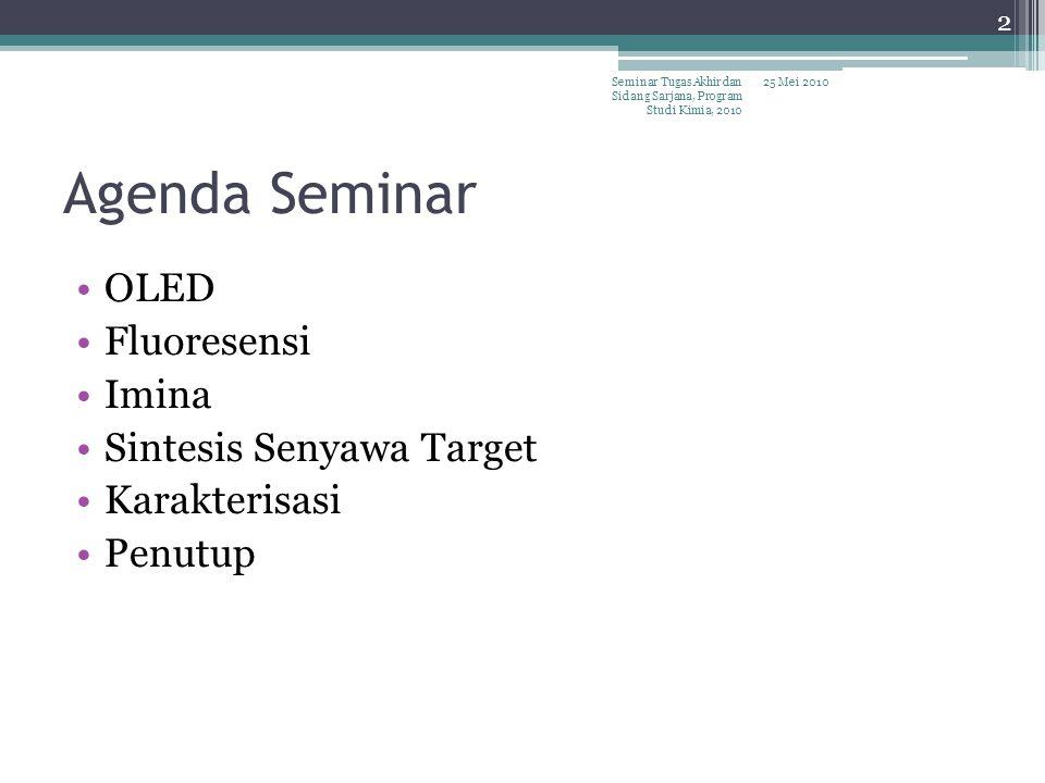 Agenda Seminar OLED Fluoresensi Imina Sintesis Senyawa Target