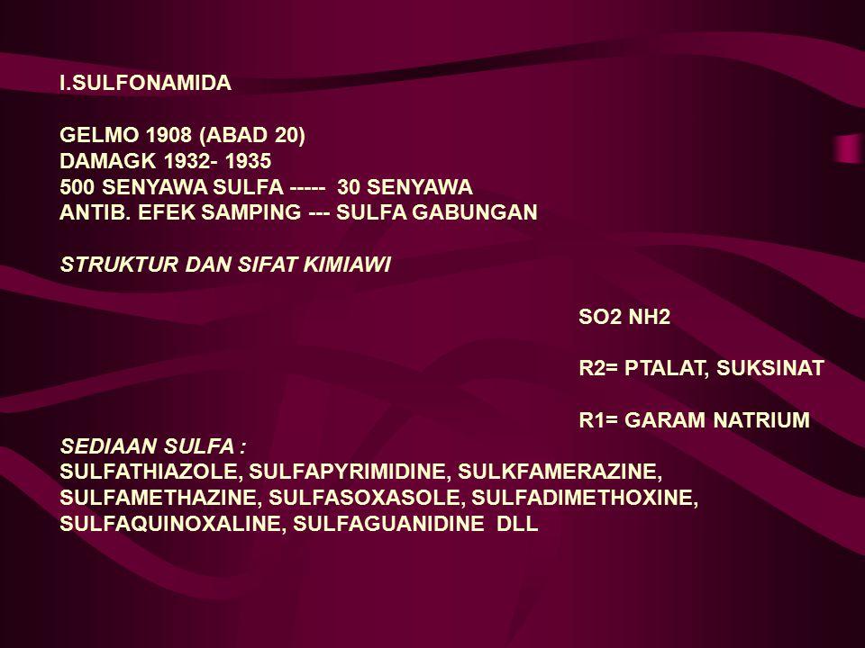 I.SULFONAMIDA GELMO 1908 (ABAD 20) DAMAGK 1932- 1935. 500 SENYAWA SULFA ----- 30 SENYAWA. ANTIB. EFEK SAMPING --- SULFA GABUNGAN.
