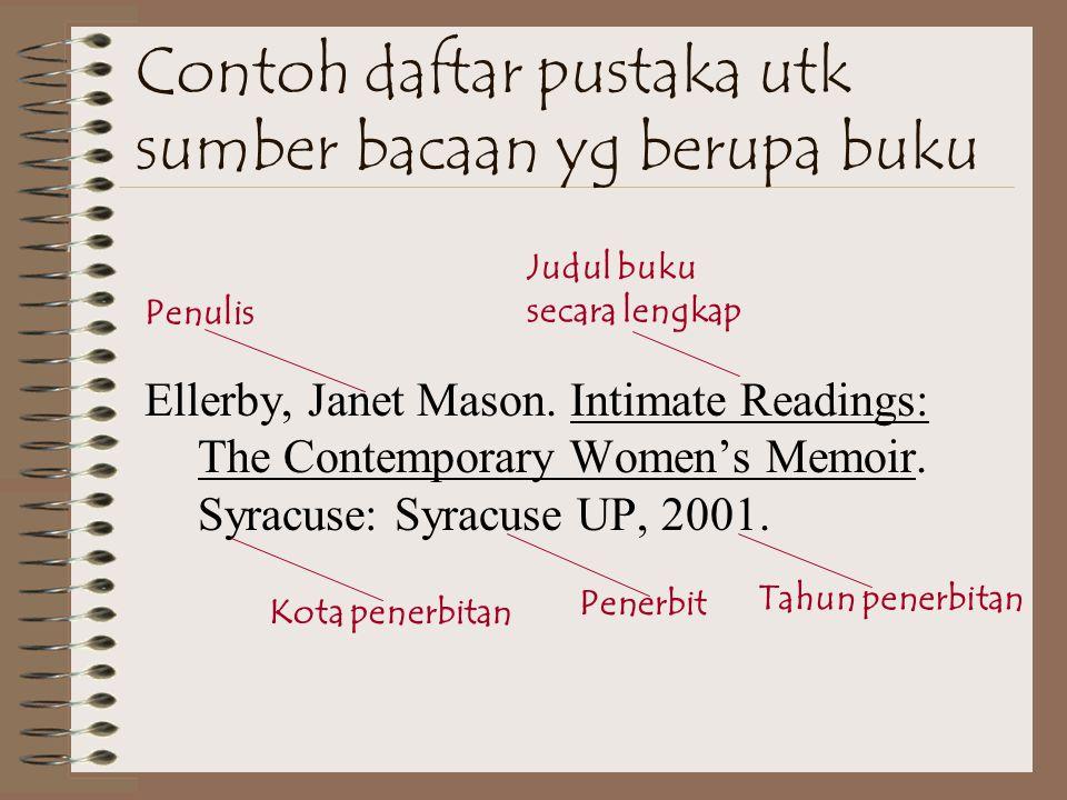 Contoh daftar pustaka utk sumber bacaan yg berupa buku