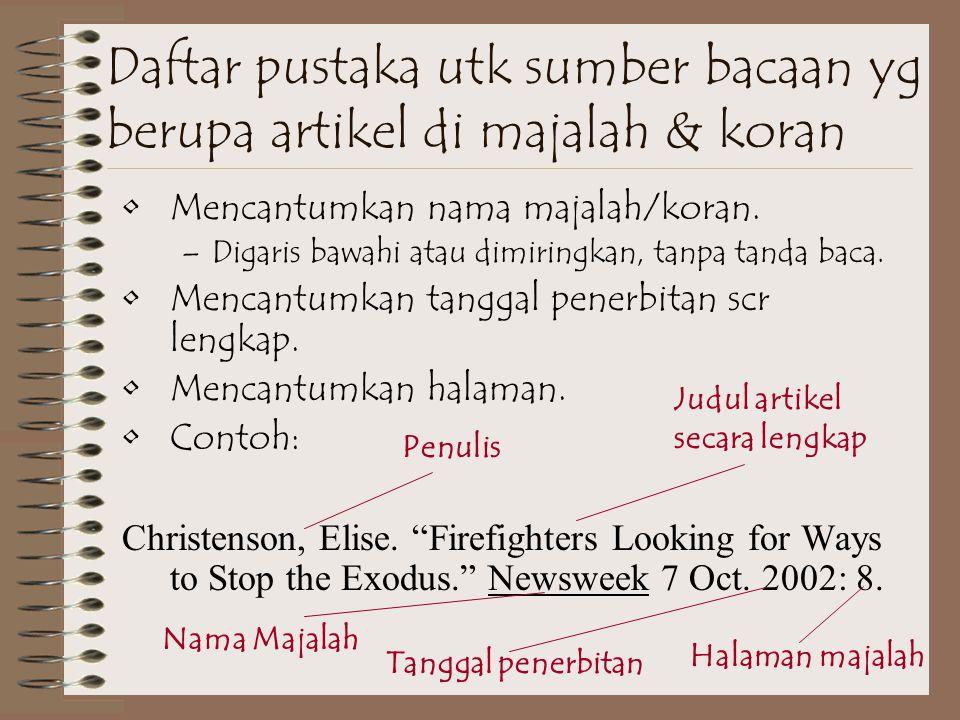 Daftar pustaka utk sumber bacaan yg berupa artikel di majalah & koran