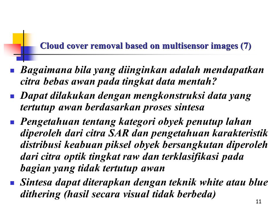Cloud cover removal based on multisensor images (7)
