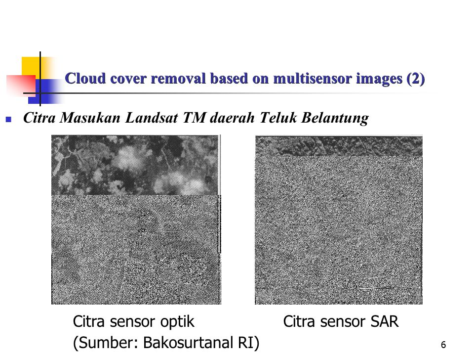 Cloud cover removal based on multisensor images (2)