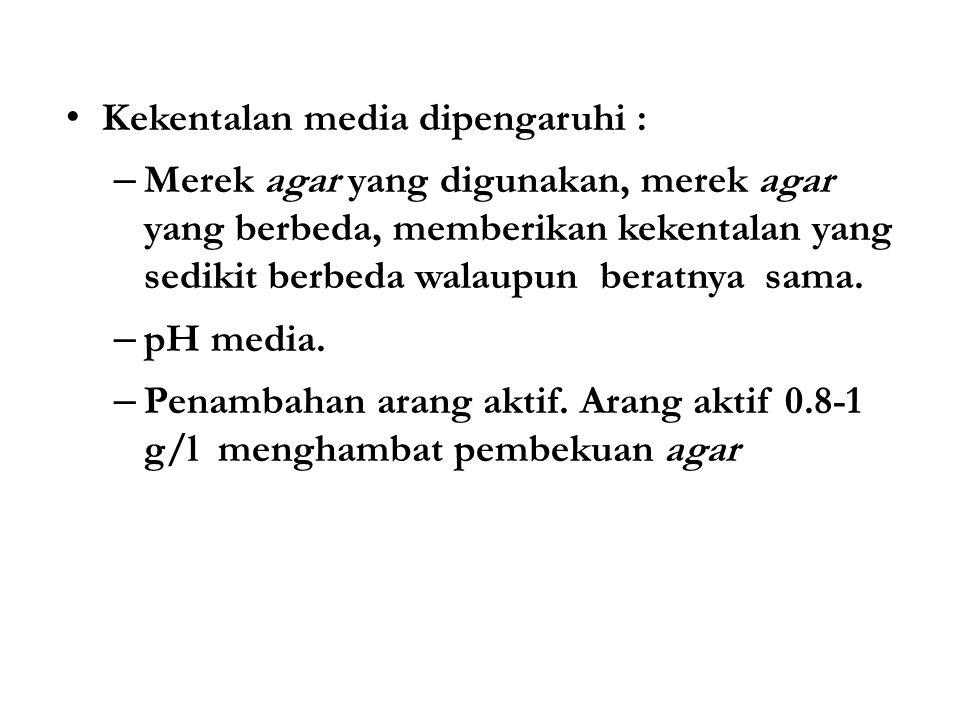 Kekentalan media dipengaruhi :