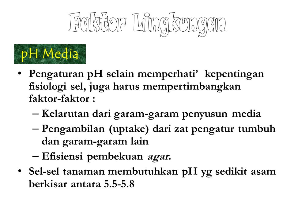 Faktor Lingkungan pH Media