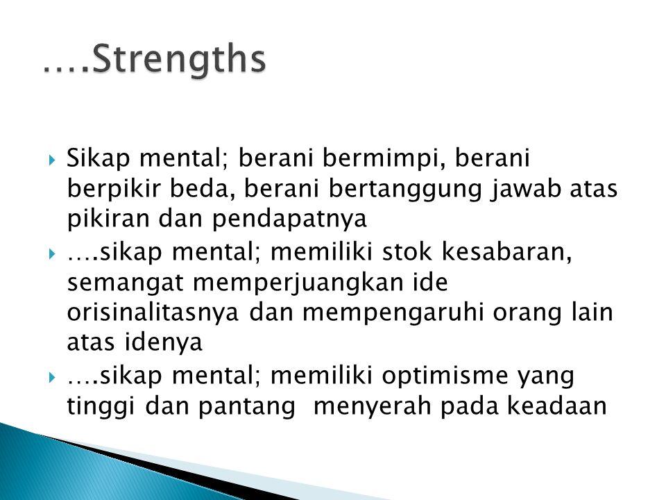 ….Strengths Sikap mental; berani bermimpi, berani berpikir beda, berani bertanggung jawab atas pikiran dan pendapatnya.