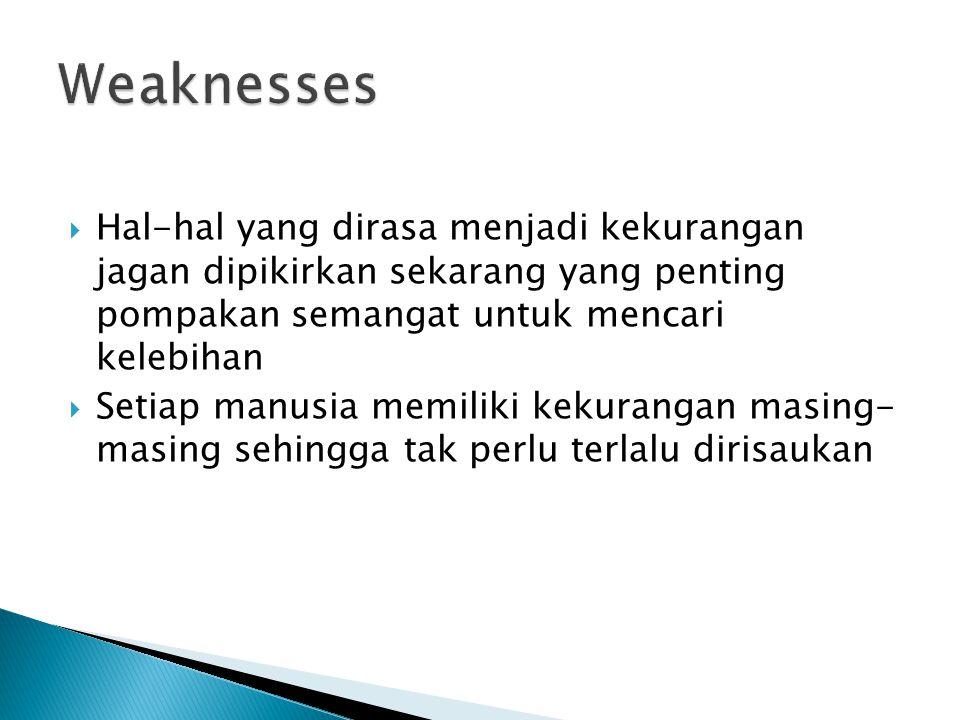 Weaknesses Hal-hal yang dirasa menjadi kekurangan jagan dipikirkan sekarang yang penting pompakan semangat untuk mencari kelebihan.
