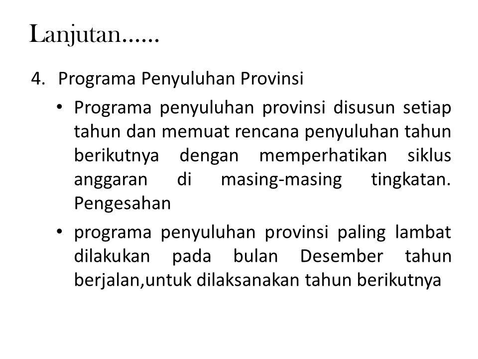 Lanjutan...... Programa Penyuluhan Provinsi