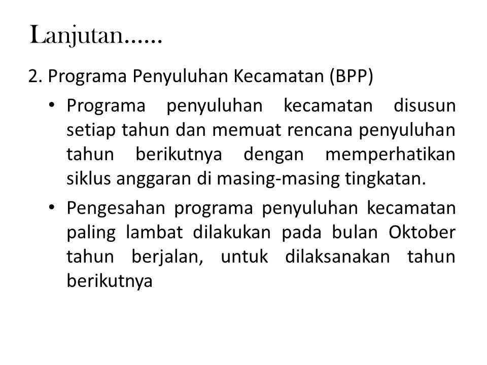 Lanjutan...... 2. Programa Penyuluhan Kecamatan (BPP)