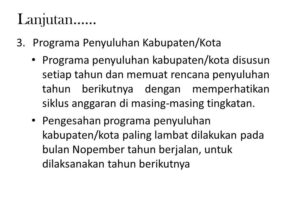 Lanjutan...... Programa Penyuluhan Kabupaten/Kota