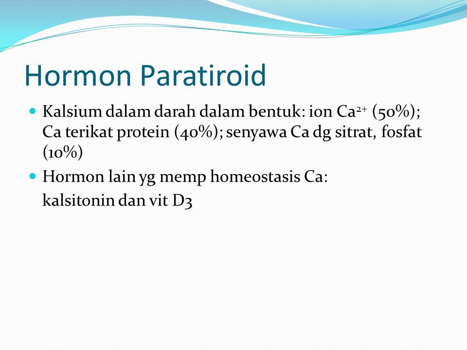 Hormon Paratiroid Kalsium dalam darah dalam bentuk: ion Ca2+ (50%); Ca terikat protein (40%); senyawa Ca dg sitrat, fosfat (10%)