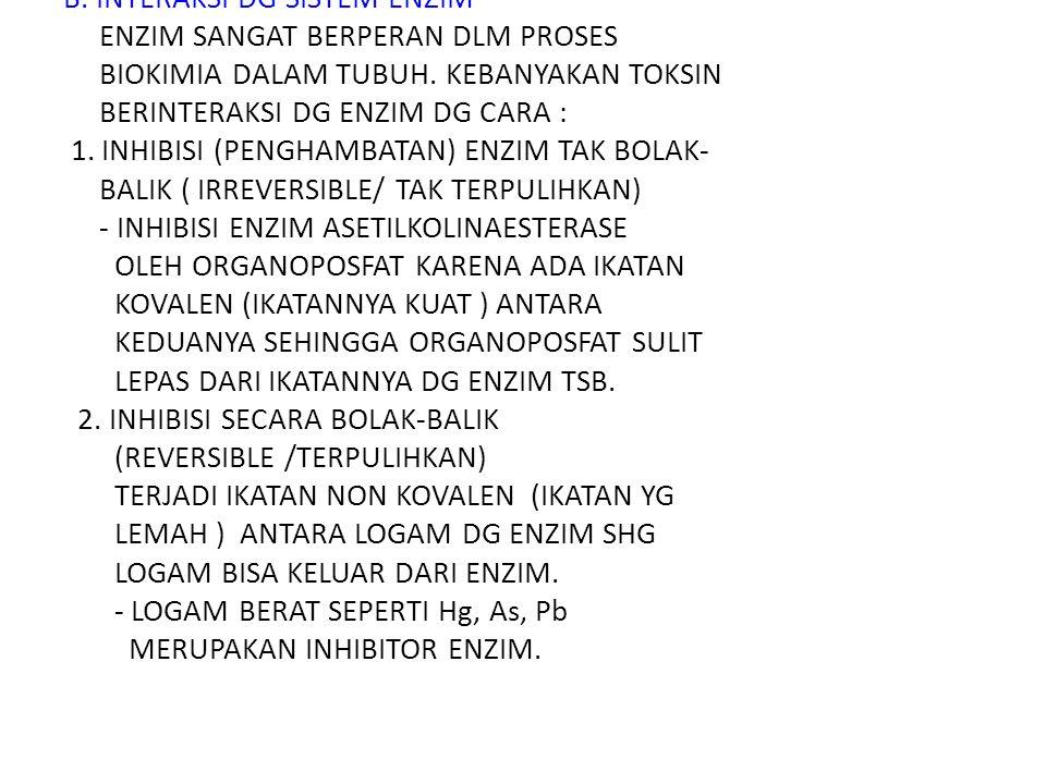 B. INTERAKSI DG SISTEM ENZIM ENZIM SANGAT BERPERAN DLM PROSES BIOKIMIA DALAM TUBUH.