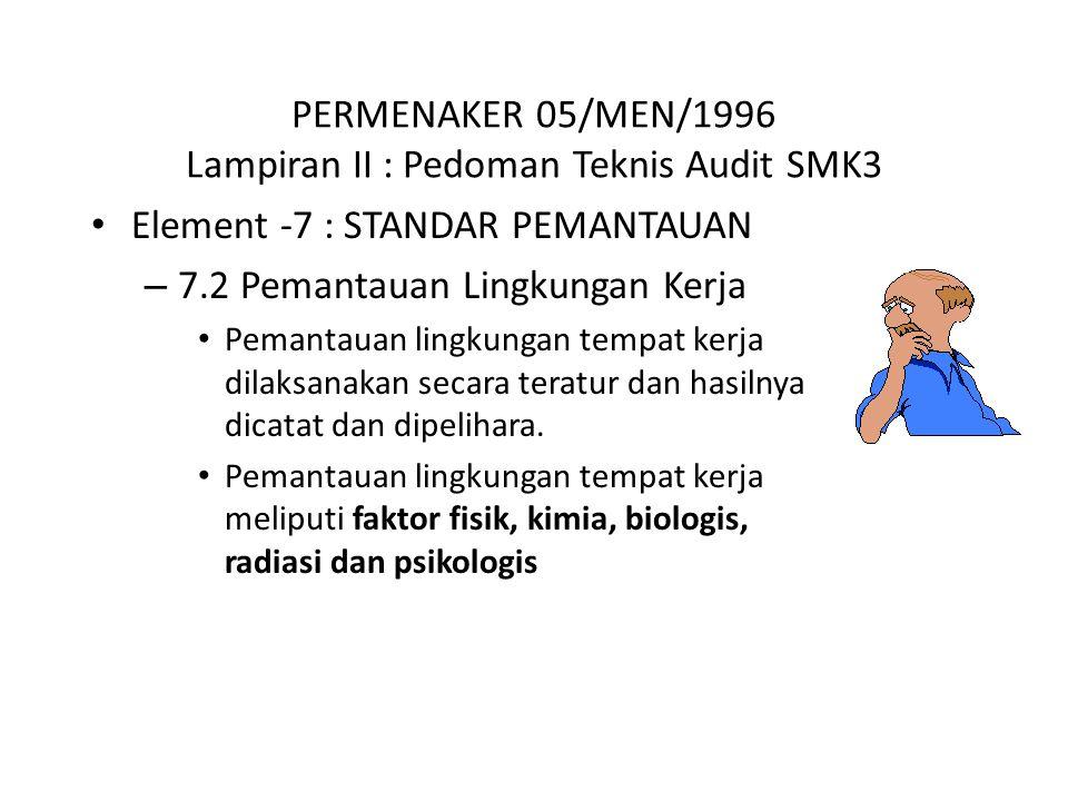 PERMENAKER 05/MEN/1996 Lampiran II : Pedoman Teknis Audit SMK3