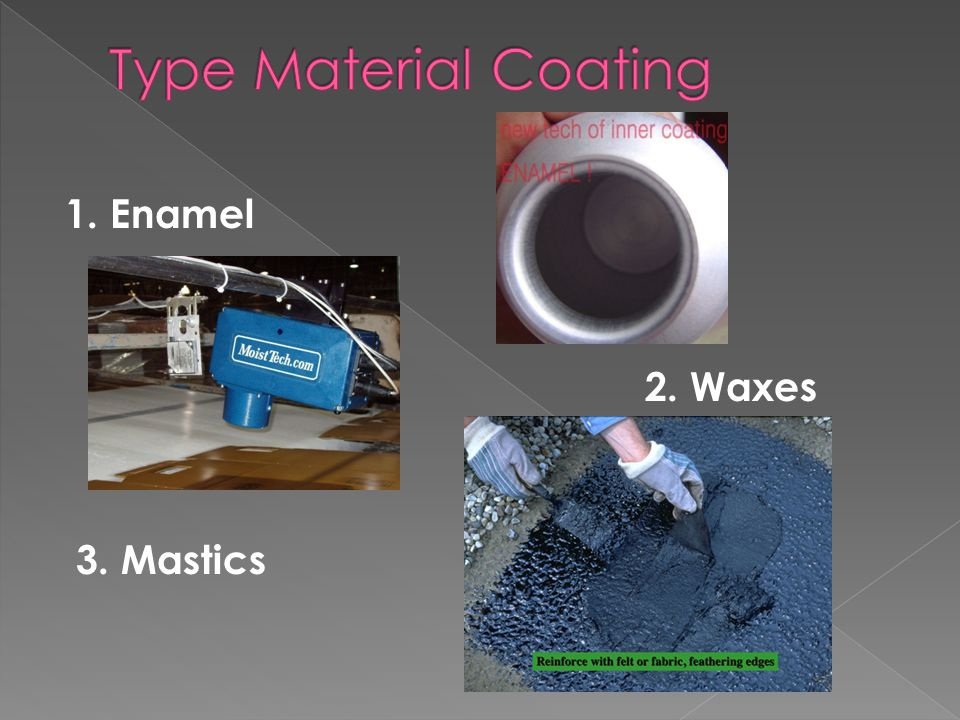 Type Material Coating 1. Enamel 2. Waxes 3. Mastics