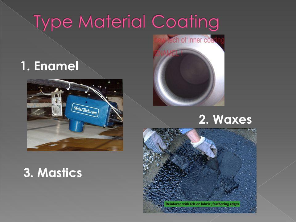 Type Material Coating 1. Enamel 2. Waxes 3. Mastics