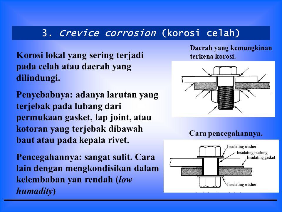 3. Crevice corrosion (korosi celah)