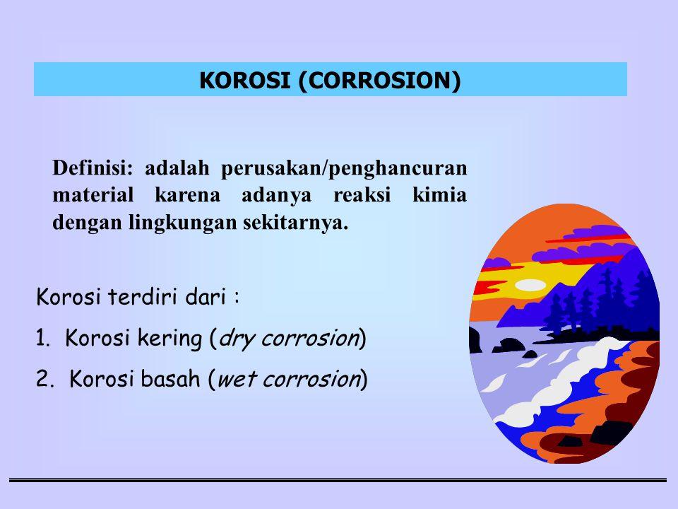 KOROSI (CORROSION) Definisi: adalah perusakan/penghancuran material karena adanya reaksi kimia dengan lingkungan sekitarnya.