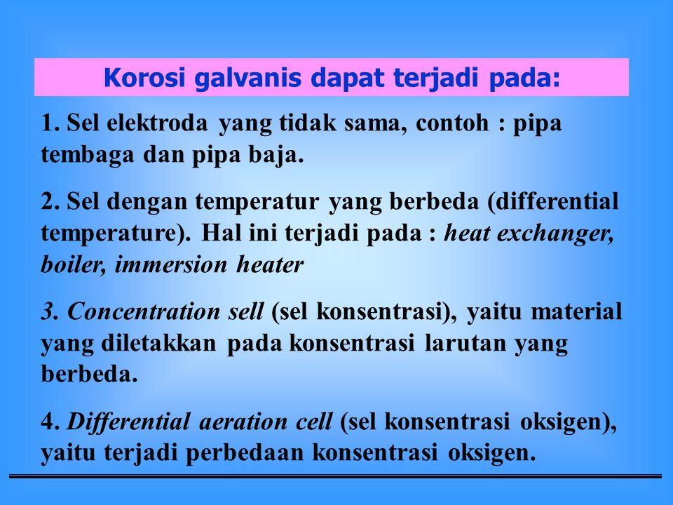Korosi galvanis dapat terjadi pada:
