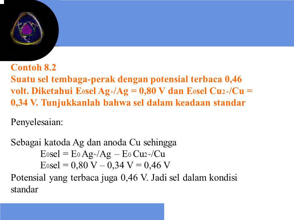 Contoh 8.2 Suatu sel tembaga-perak dengan potensial terbaca 0,46. volt. Diketahui E0sel Ag+/Ag = 0,80 V dan E0sel Cu2+/Cu =