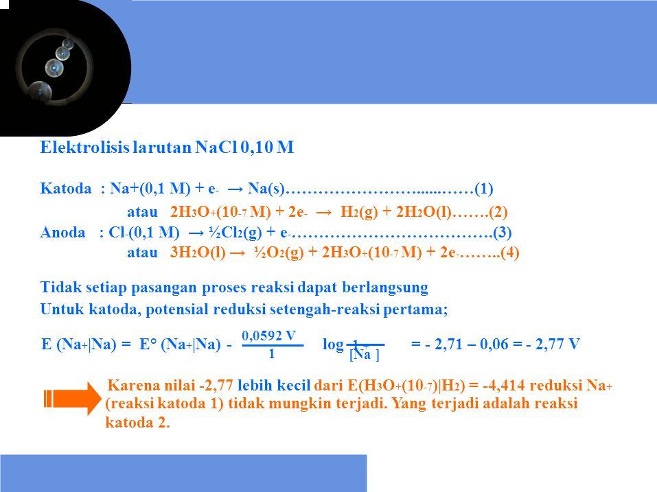 Elektrolisis larutan NaCl 0,10 M