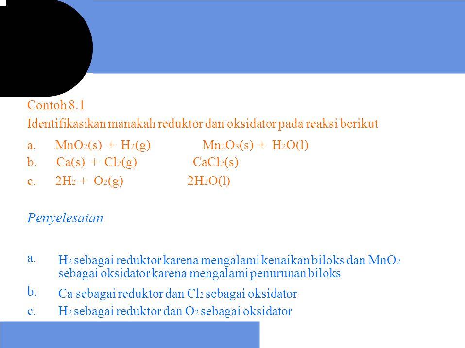 Contoh 8.1 Identifikasikan manakah reduktor dan oksidator pada reaksi berikut. a. MnO2(s) + H2(g)