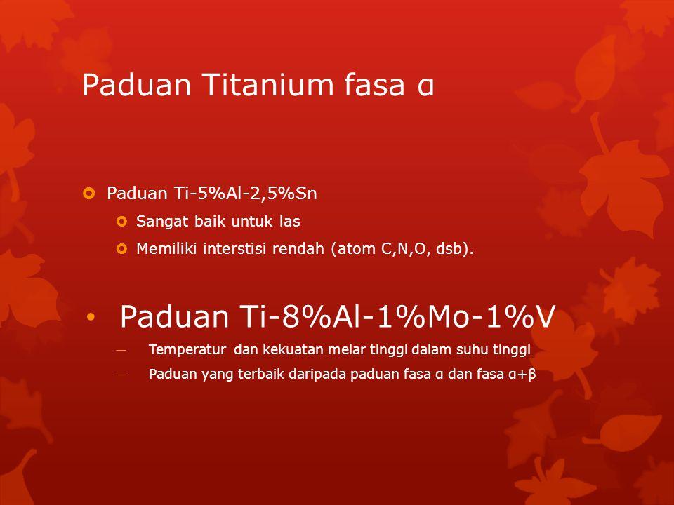 Paduan Titanium fasa α Paduan Ti-8%Al-1%Mo-1%V Paduan Ti-5%Al-2,5%Sn