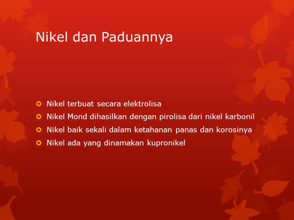 Nikel dan Paduannya Nikel terbuat secara elektrolisa