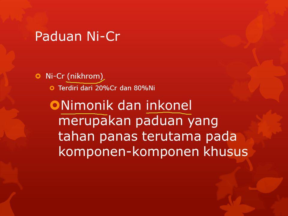 Paduan Ni-Cr Ni-Cr (nikhrom) Terdiri dari 20%Cr dan 80%Ni.