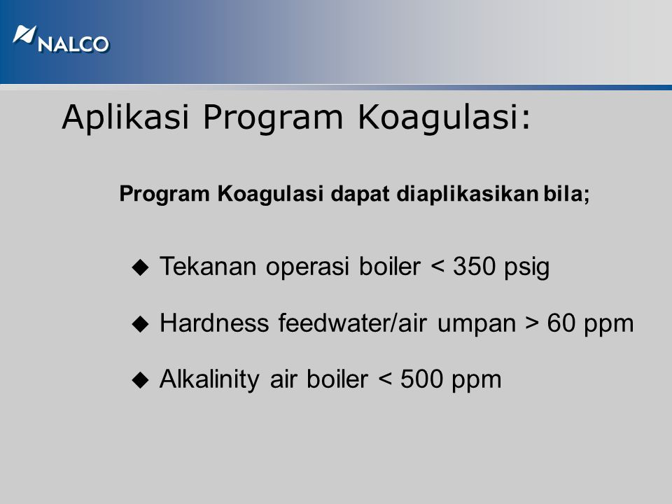 Aplikasi Program Koagulasi: