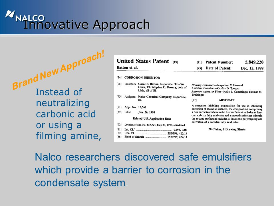 Innovative Approach Brand New Approach! Instead of neutralizing carbonic acid or using a filming amine,
