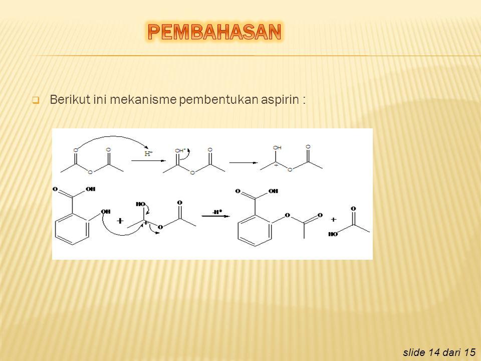 PEMBAHASAN Berikut ini mekanisme pembentukan aspirin :