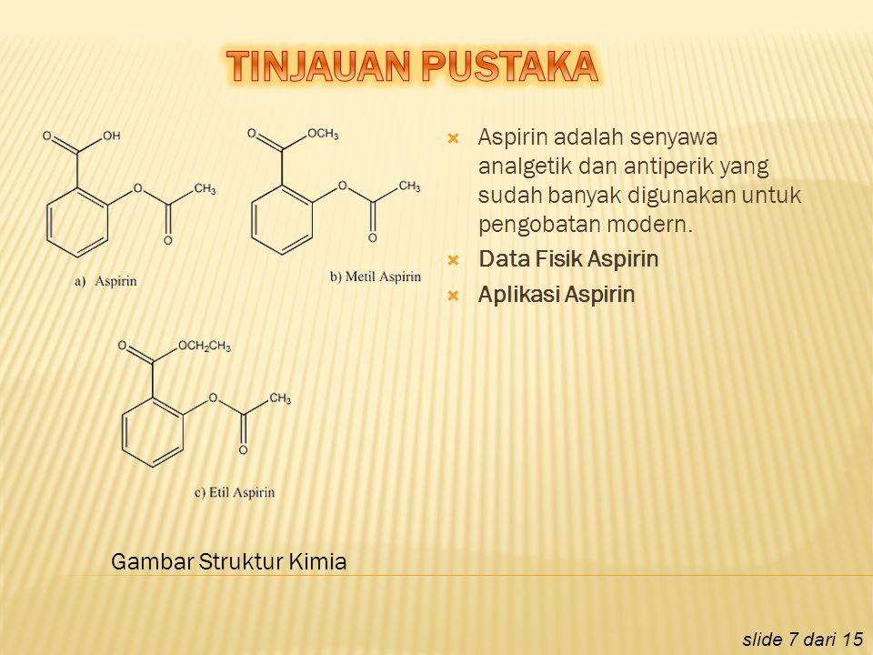 TINJAUAN PUSTAKA Aspirin adalah senyawa analgetik dan antiperik yang sudah banyak digunakan untuk pengobatan modern.
