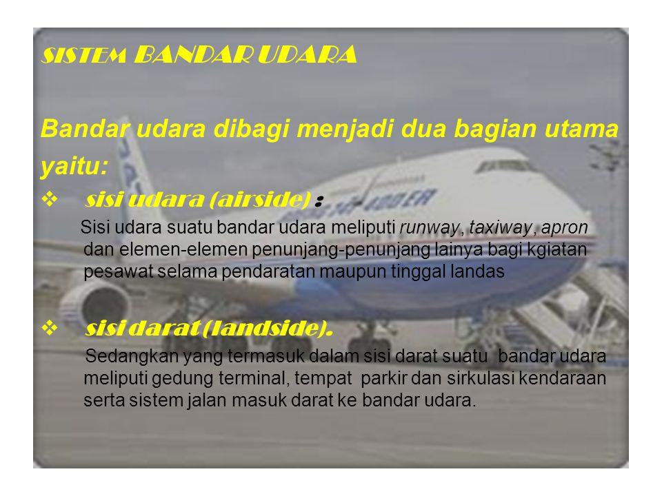 Bandar udara dibagi menjadi dua bagian utama yaitu:
