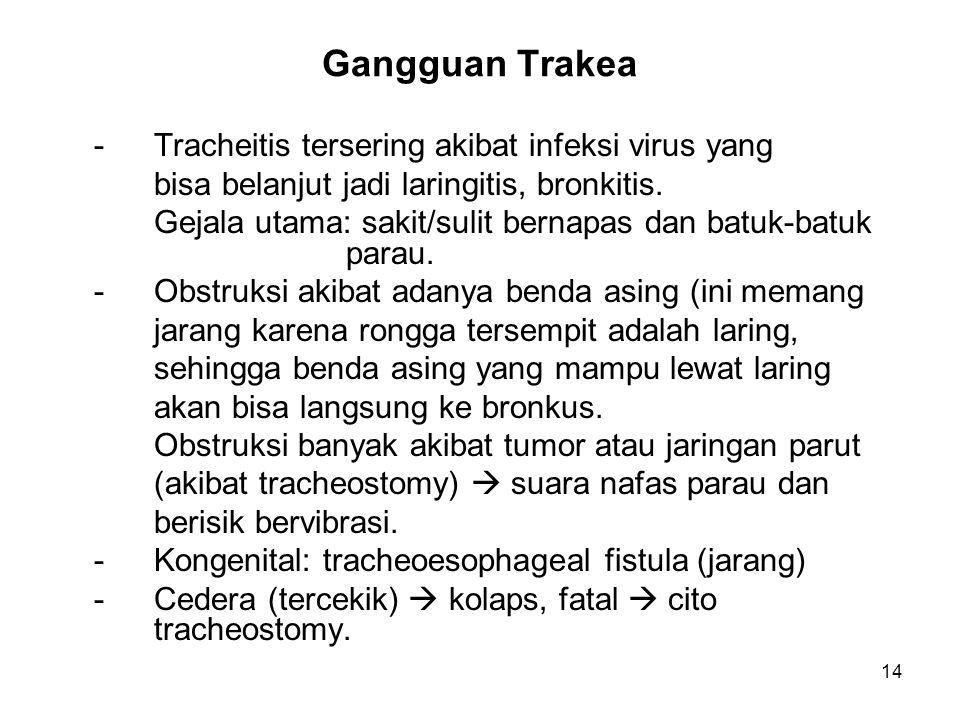 Gangguan Trakea - Tracheitis tersering akibat infeksi virus yang