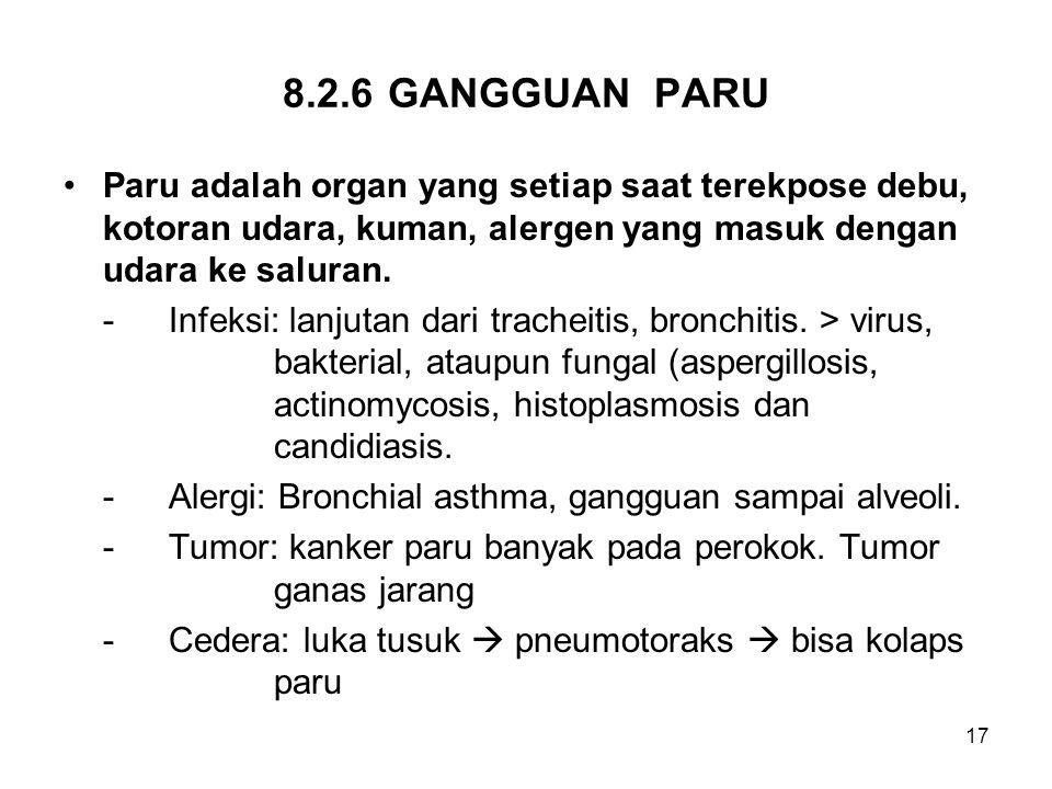 8.2.6 GANGGUAN PARU Paru adalah organ yang setiap saat terekpose debu, kotoran udara, kuman, alergen yang masuk dengan udara ke saluran.