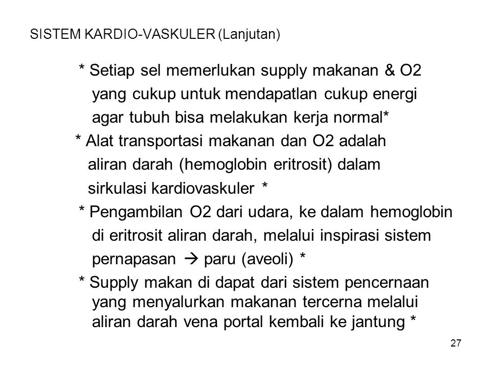 SISTEM KARDIO-VASKULER (Lanjutan)