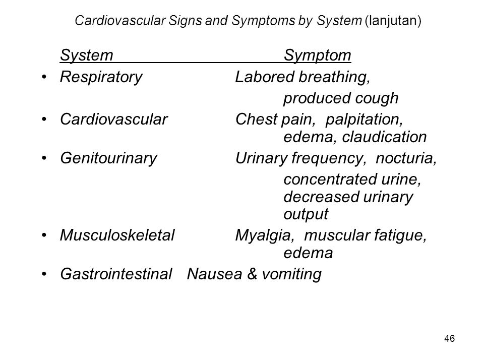 Cardiovascular Signs and Symptoms by System (lanjutan)