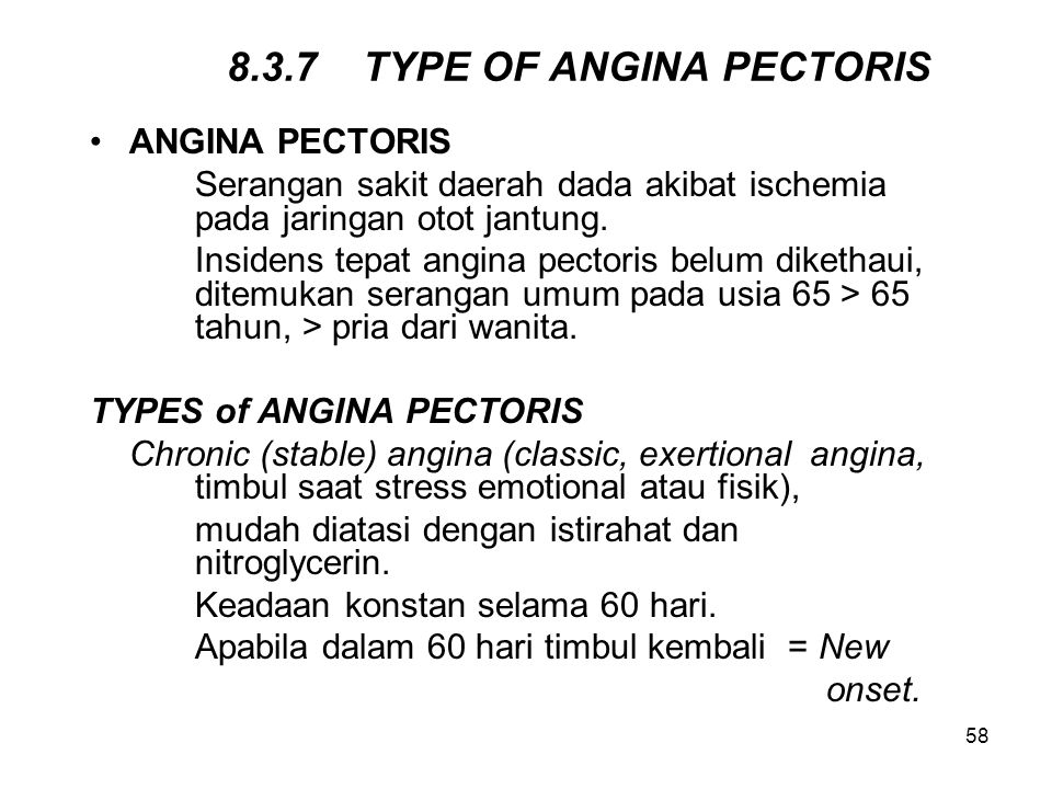 8.3.7 TYPE OF ANGINA PECTORIS