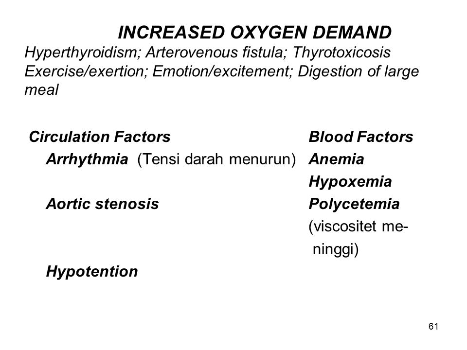 INCREASED OXYGEN DEMAND Hyperthyroidism; Arterovenous fistula; Thyrotoxicosis Exercise/exertion; Emotion/excitement; Digestion of large meal