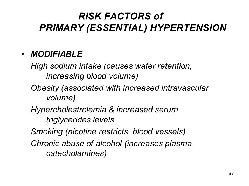 RISK FACTORS of PRIMARY (ESSENTIAL) HYPERTENSION