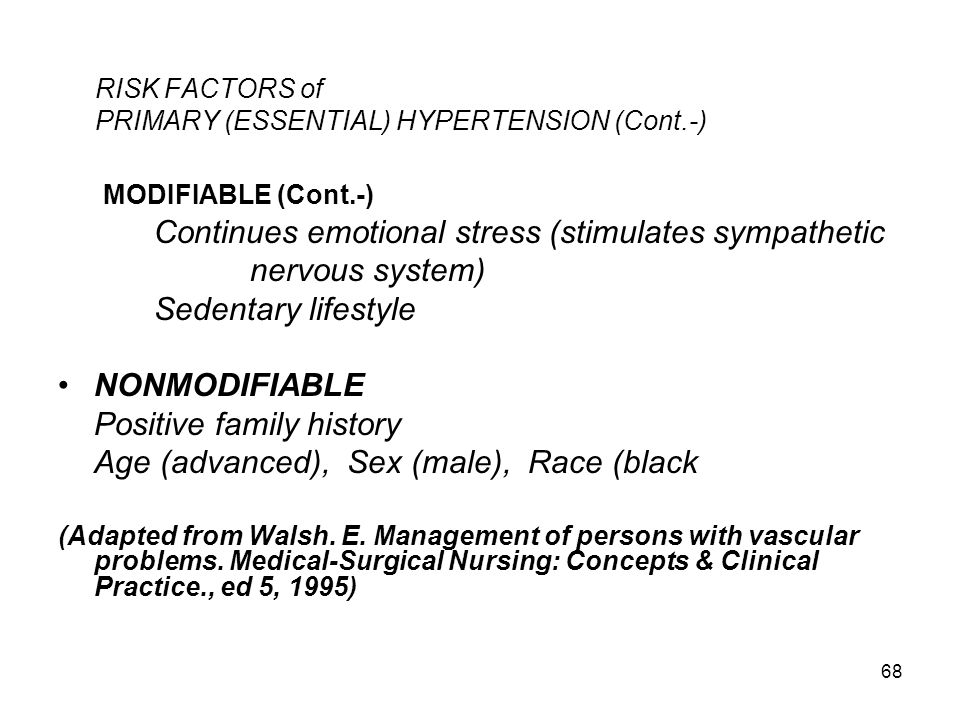 RISK FACTORS of PRIMARY (ESSENTIAL) HYPERTENSION (Cont.-)