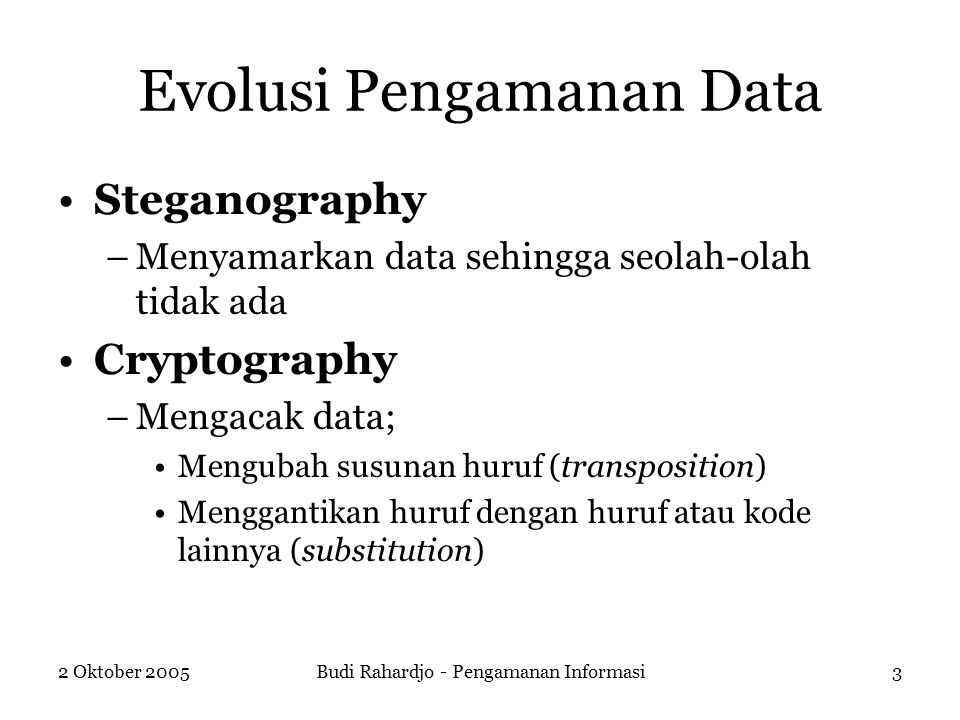 Evolusi Pengamanan Data