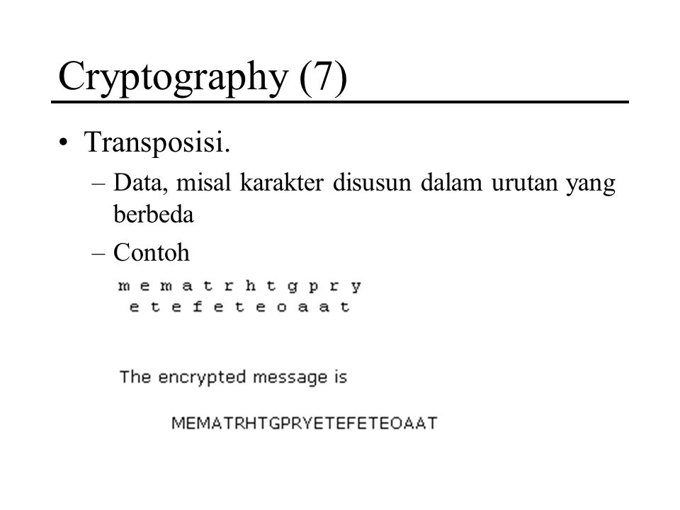 Cryptography (7) Transposisi.