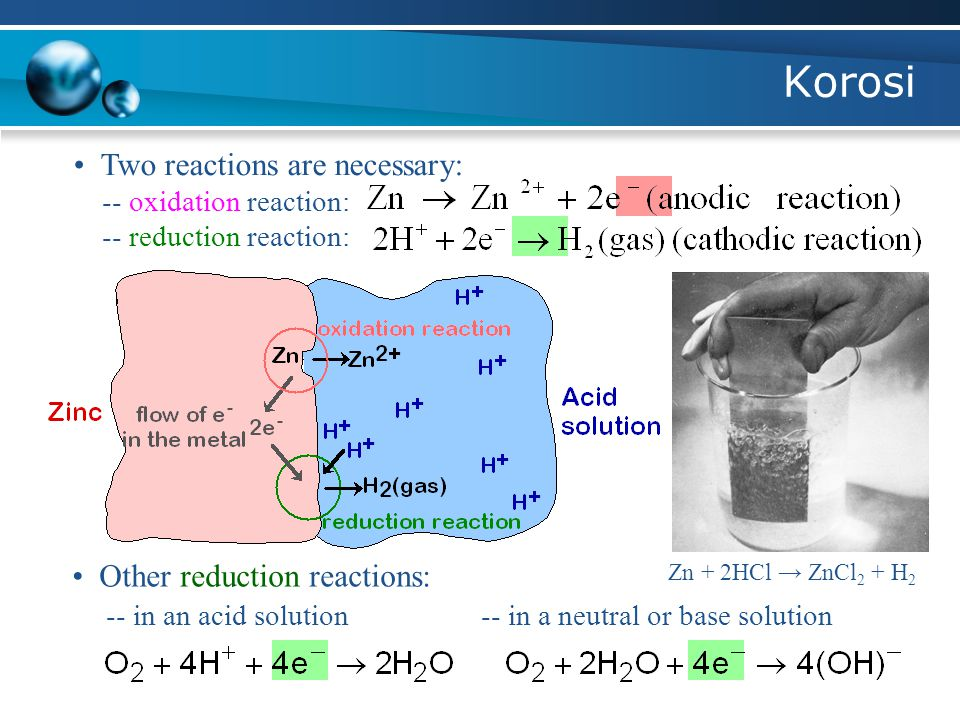 Korosi • Two reactions are necessary: • Other reduction reactions: