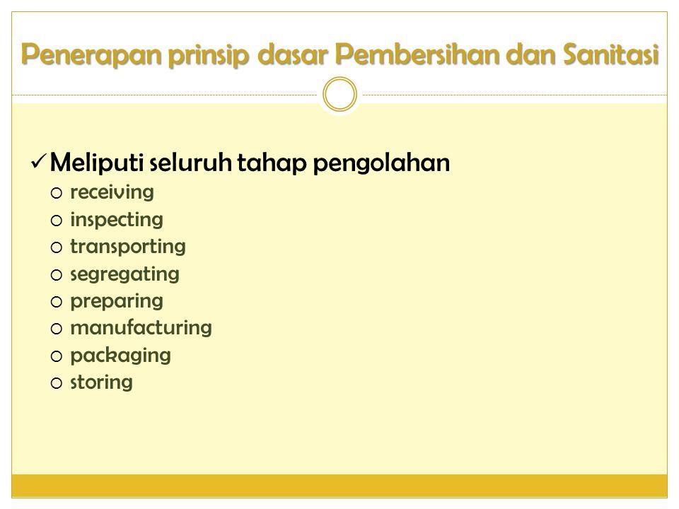 Penerapan prinsip dasar Pembersihan dan Sanitasi
