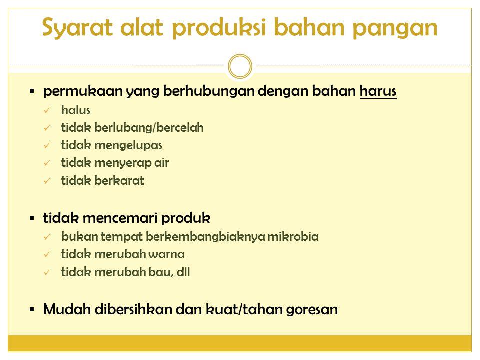 Syarat alat produksi bahan pangan