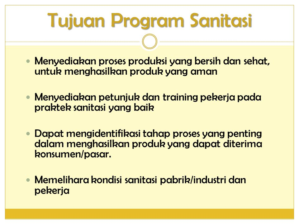 Tujuan Program Sanitasi