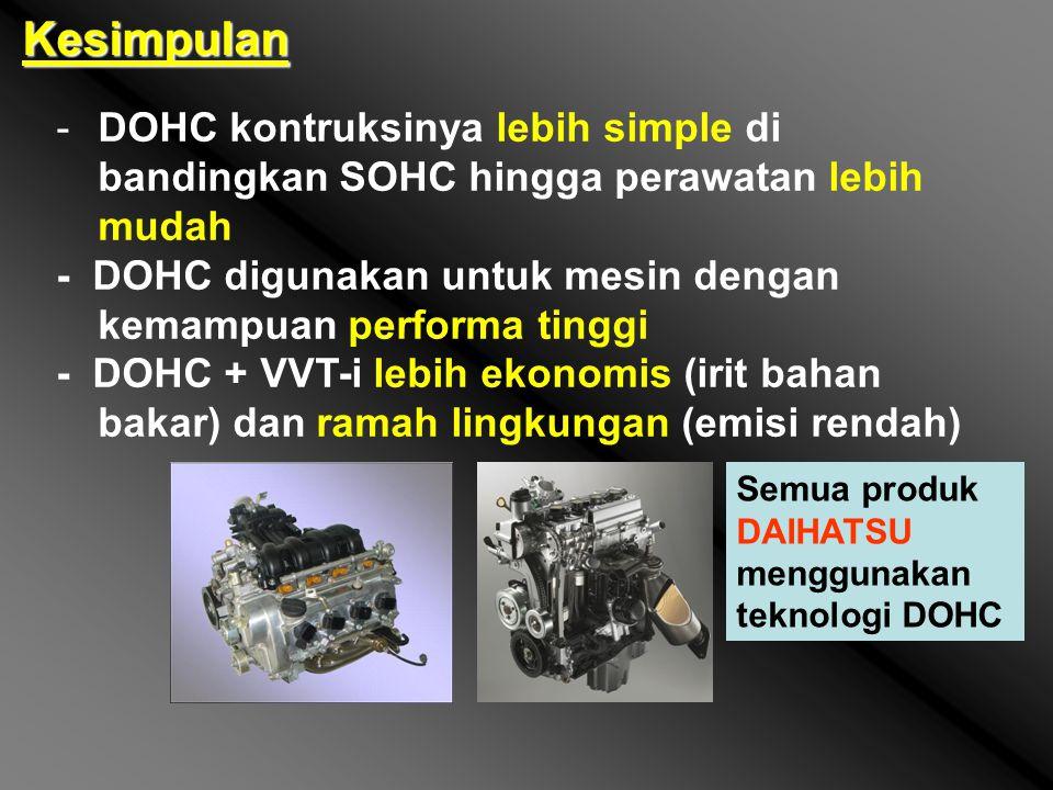 Kesimpulan DOHC kontruksinya lebih simple di bandingkan SOHC hingga perawatan lebih mudah.
